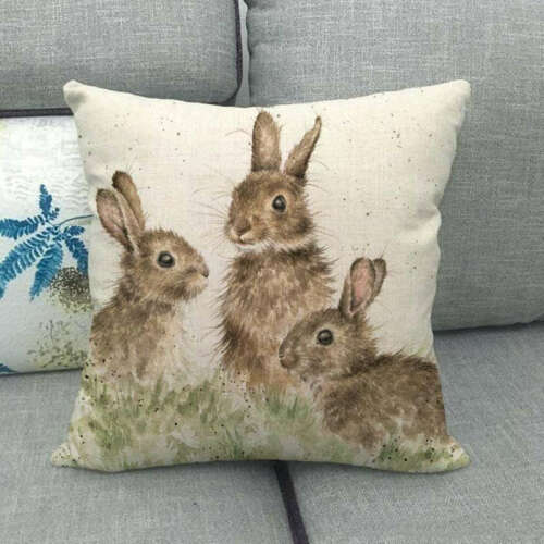 Easter Bunny Printed Bay Window Cushion Cover Pillow Case Animal Home Decorative