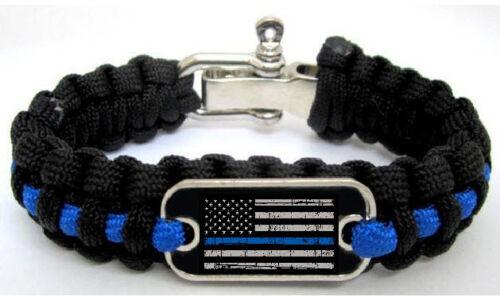 Police des vies matière fine ligne bleue Drapeau flics Paracord Survival Bracelet M//L
