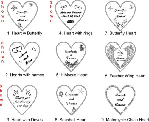 Personalized Custom Heart Wedding Key Chain Favors Choice of Design Qty of 50