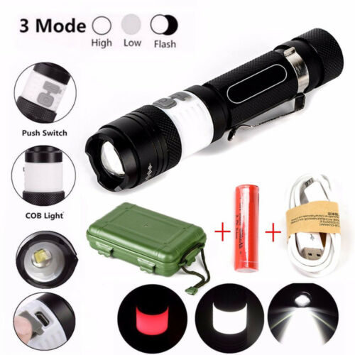 18650 12000lm XML T6 LED Zoom Flashlight Torch USB Rechargeable Lamp Light Set