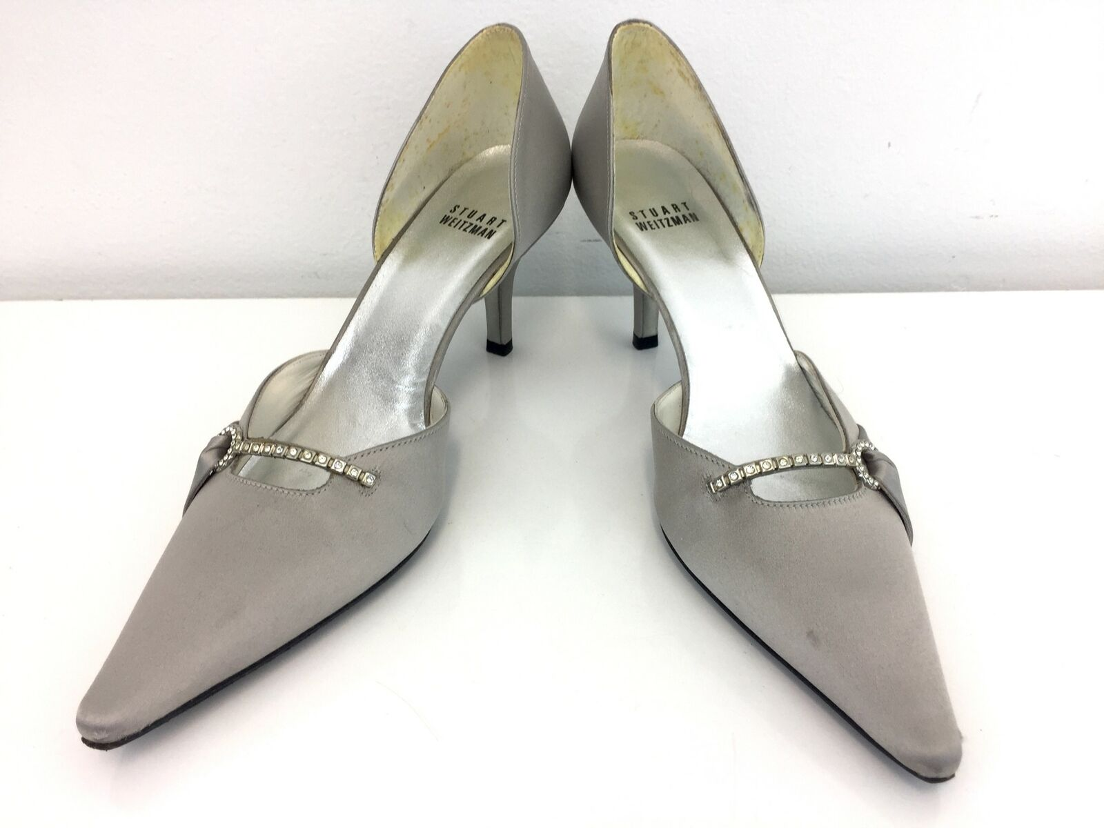 Stuart Weitzman Heels 7M Silver Women's Fabric Leather Pointed Toe Made in Spain