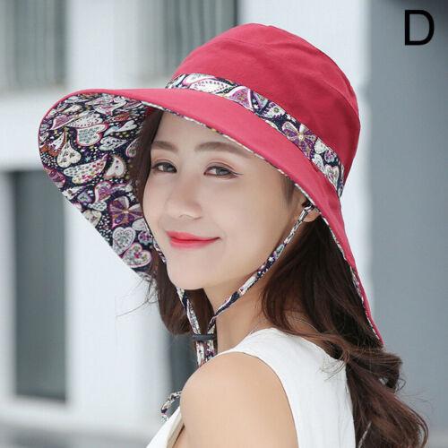 Women Wide Brim Fisherman Hat Lady Summer Trave Beach Bucket Sun Protective Cap