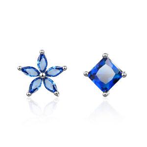 Ladies-Elegant-925-Sterling-Silver-Blue-Zircon-Flower-amp-Square-Stud-Earrings-Gift