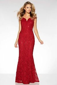 65-STUNNING-EX-QUIZ-Red-Lace-Sequin-Bardot-Fishtail-Maxi-Evening-Dress-10-18