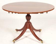 Baker Style Mahogany Single Pedestal Dining Table Federal Style