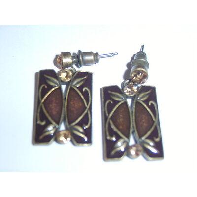 Vintage Art Nouveau Style Enamel & Diamante Stud Earrings Amber & Antique Bronze