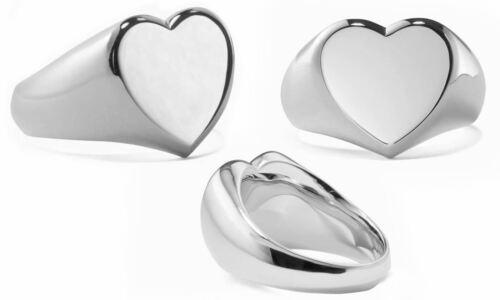 Coeur Chevalière bague en 18K or blanc plaqué