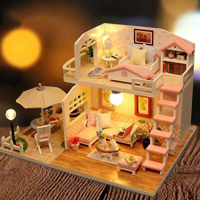 Doll House Pink Attic Handmade Educational Cottage Without Dust