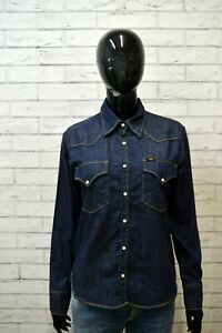 Camicia-LEE-Donna-Taglia-L-M-Maglia-Blusa-Shirt-Woman-Cotone-Jeans-Blu-Hemd