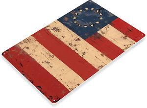 TIN-SIGN-Rustic-American-Flag-1776-Flag-Patriotic-Cottage-Farm-House-Shop-A053