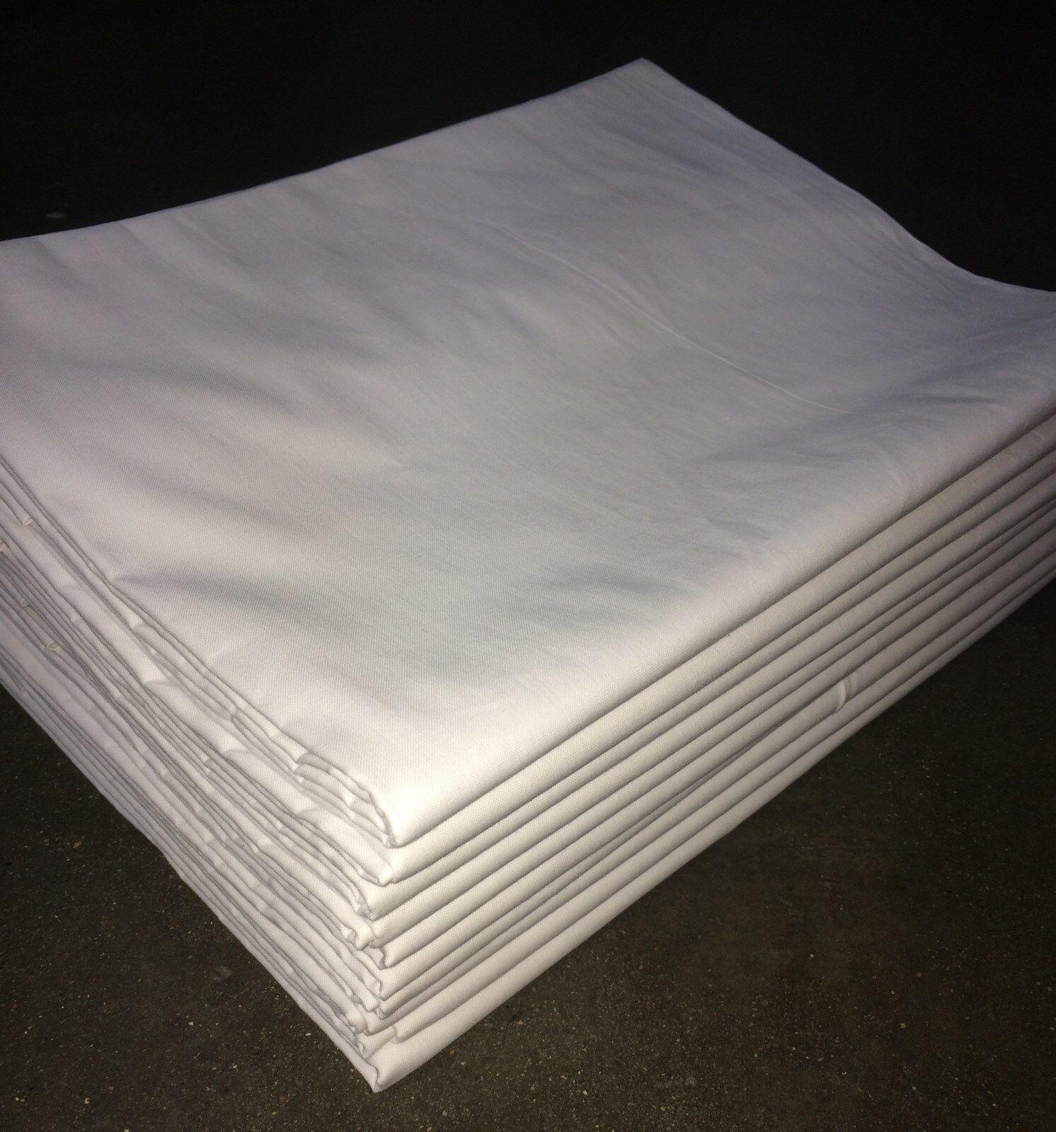 10x Bettlaken 150x250 cm 140 g m²  weiß Baumwolle Hotel-Qualität ohne Gummi