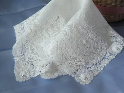 Beautiful Antique Schiffli Lace Wedding Bridal Handkerchief Point de Rose Style