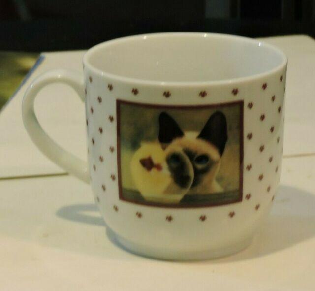 1986 Lowell Herrero Siamese Cat Eyeing Goldfish Tea Cup 2 sided Japan Vandor