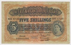 British-East-Africa-Banknote-5-Shillings-1956-P33-VF-Queen-Elizabeth-Rare-Lion