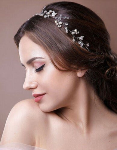 PROM Pearls Wedding Hair Vine Crystal Bridal Accessories Diamante Head piece