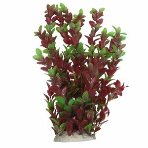 40cm Plastic Green Red Leaves Water Plants Ornament for Fish Tank Aquarium TS