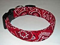 Charming Red & Black Bandana Standard Handmade Adjustable Dog Collar