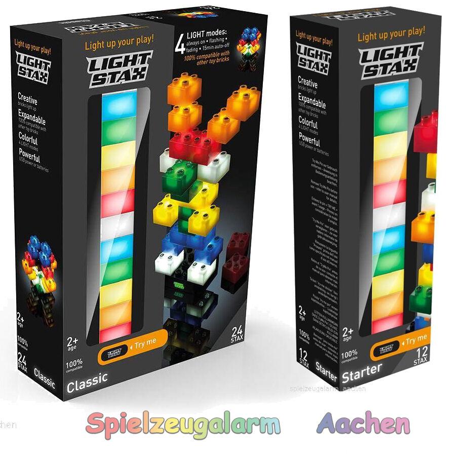 Light Stax Set 36 LED Bausteine + 2 Grundplatte 100% Kompatibel USB Nachtlicht