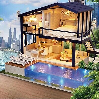 Modern Miniature Doll House 3d Wooden Doll House With Pool Furniture For Girls Ebay