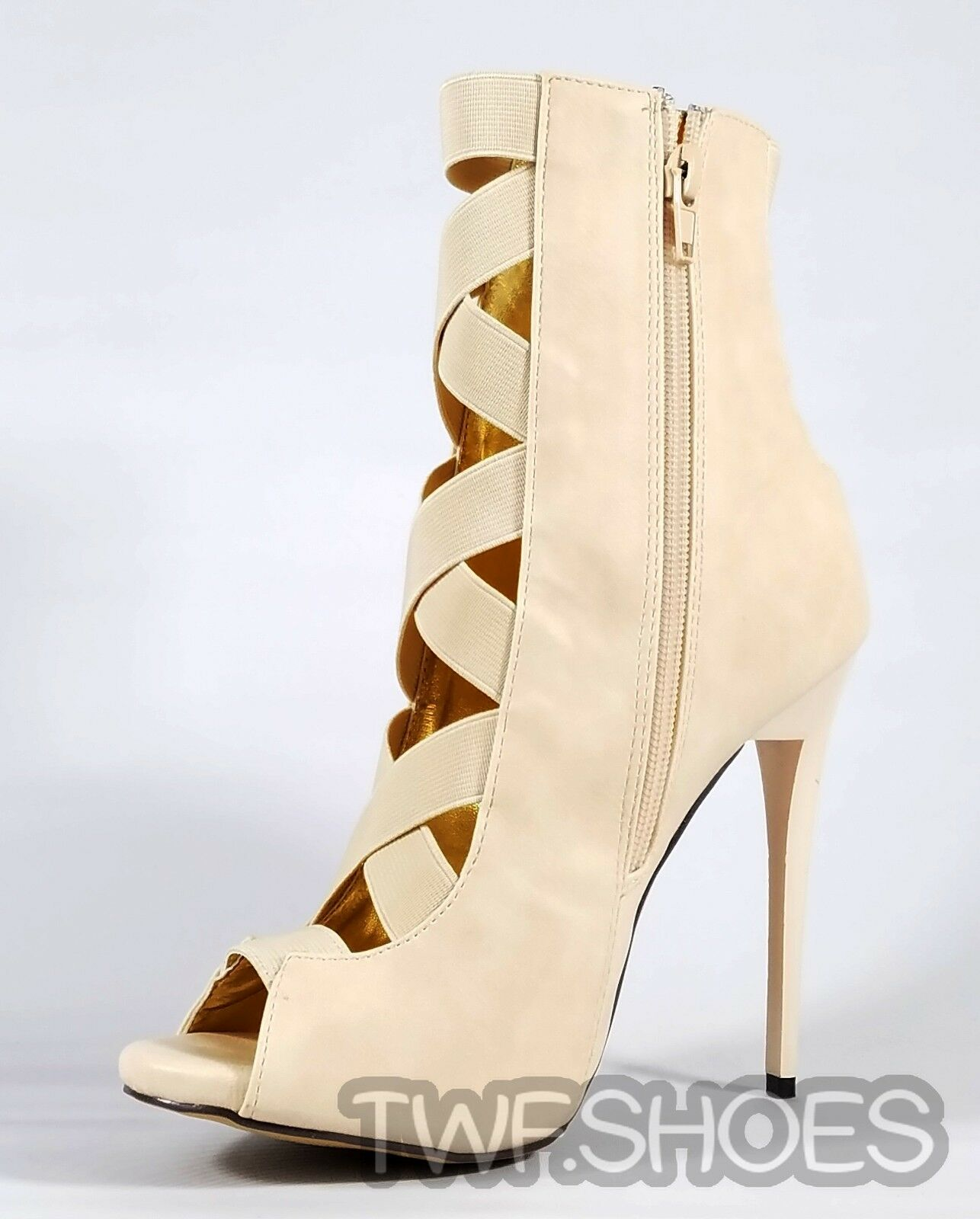 MM Dioselin Nude Open Elastic Strap Strap Strap Ankle Boot 4.75