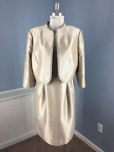 Tahari 14 16 Gold Silver Brocade Dress Suit Career Cocktail Formal