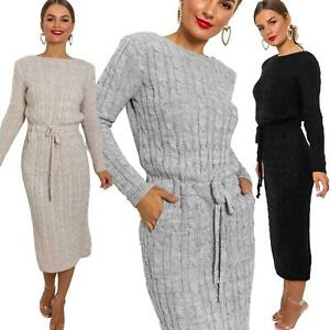 New-Women-039-s-Cable-Knit-Long-Sleeve-Pocket-Tie-up-Ladies-Midi-Jumper-Dress-8-14