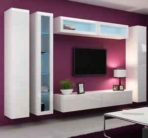 Details zu Lucas 6! Hängwand TV-wand Schrankwand Hängend Hochglanz  Wohnzimmer LED modern!