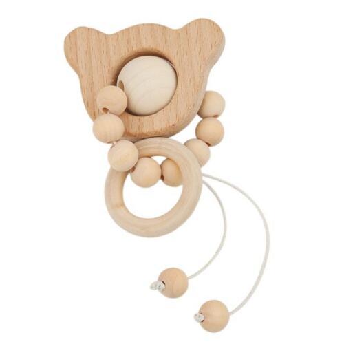 Baby Animal Shape Wooden Beads Teether Ring Infant Teething Bracelet Toys Z