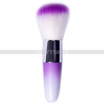 Long Handle Purple White Soft Flocking Nail Clean Brush For Manicure Beauty Care