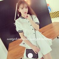 Womens New White Chiffon Girls Preppy Style Cute Casual Dress