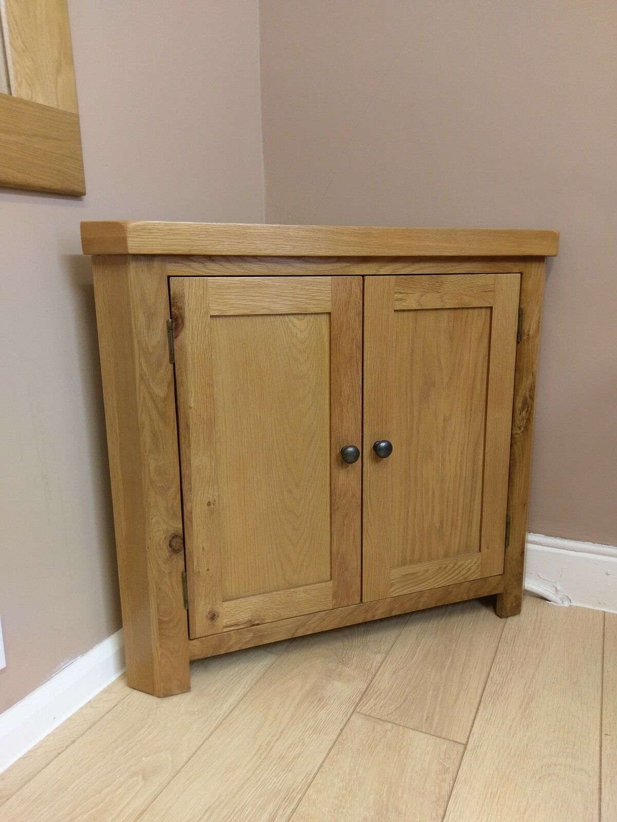 Kingsford Solid Oak Corner Cabinet Cupboard 90cm 80cm Ebay