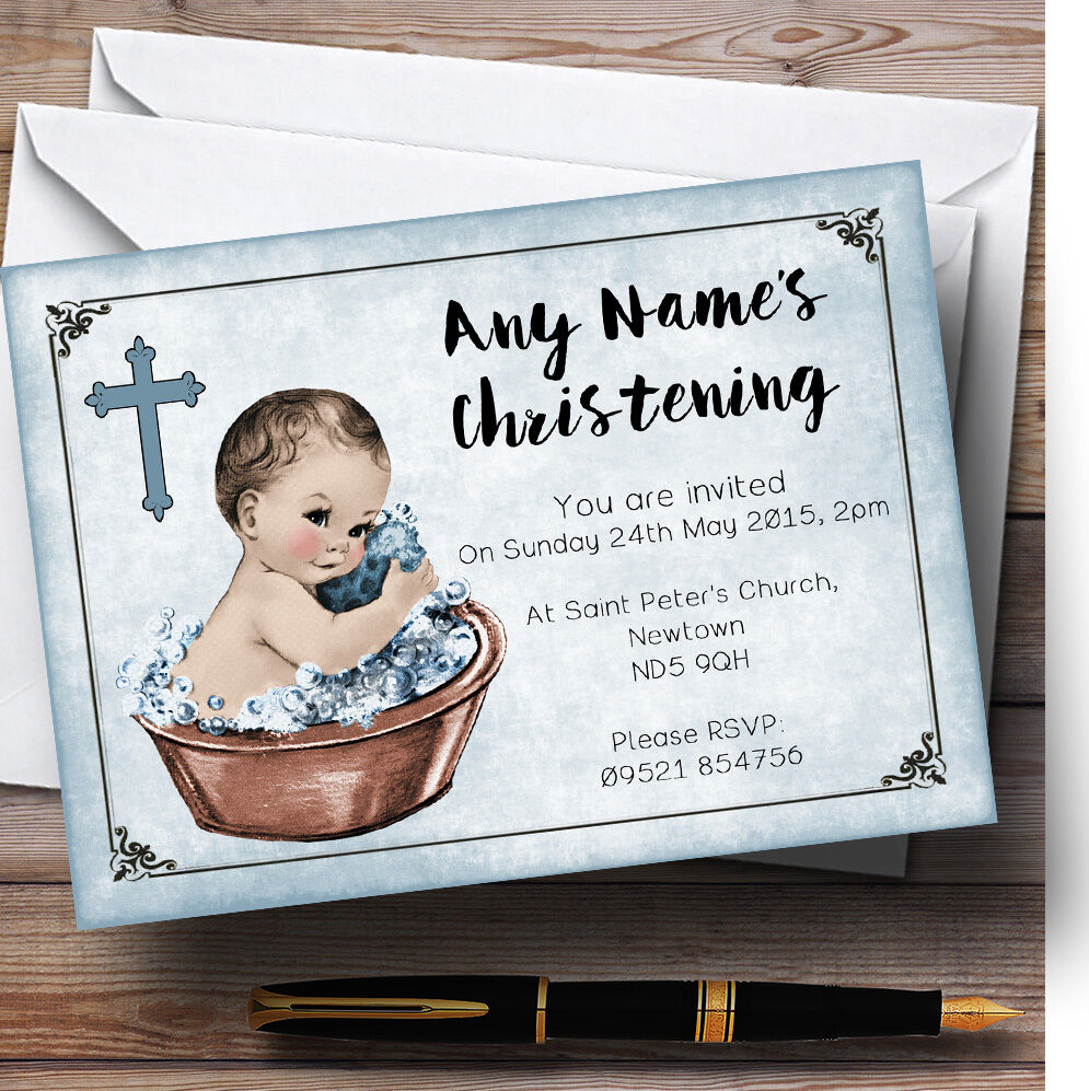 Vintage Baby Boy In Tub Personalised Christening Invitations