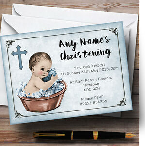 vintage baby boy in tub personalised christening invitations ebay