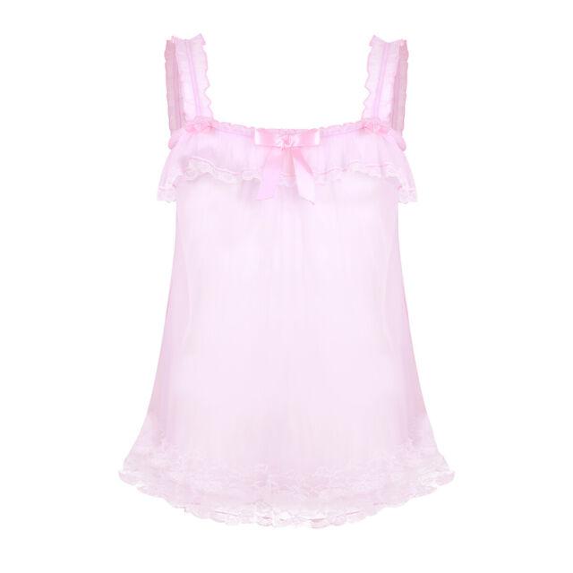 Men Sissy Nightwear Shiny Sleepwear Satin Girly Pajamas Tulle Lace Fancy Dress