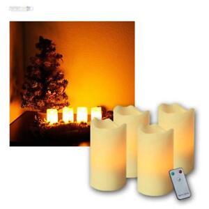 LED Advent Kerzen Set beige, Adventskranz Adventskerzen mit Fernbedienung u LEDs