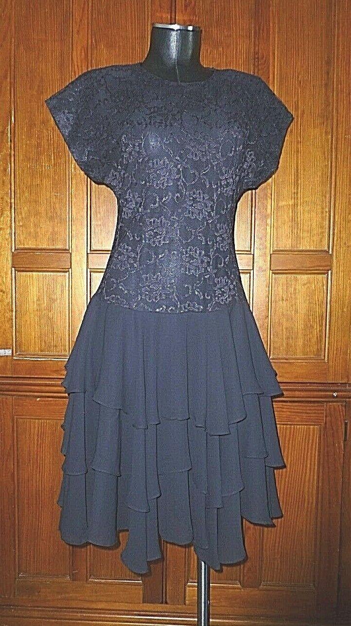 Vtg 80s Black Lace Chiffon Ruffle Evening Prom C… - image 2