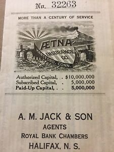 Etna-Insurance-Co-Hartford-Conn-Royal-Bank-Chambers-Canada-Vintage-Paper-E74