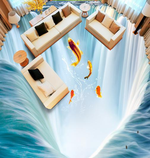 3D Great Falls Fish 6 Floor WallPaper Murals Wall Print 5D AJ WALLPAPER AU Lemon