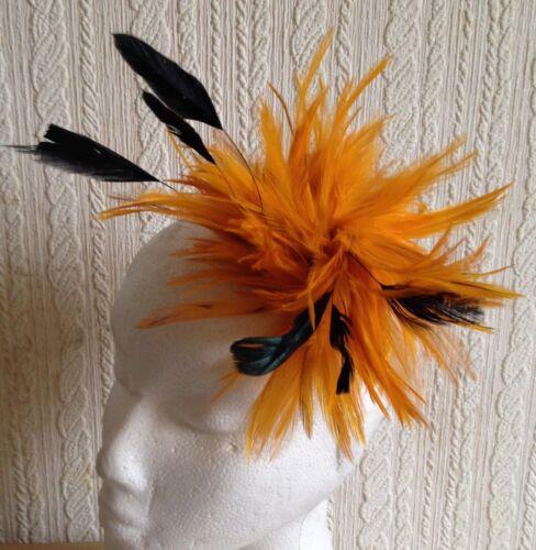 orange black feather fascinator hair clip headpiece brooch wedding party