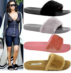 UK-LADIES-WOMENS-SLIP-ON-FLUFFY-FUR-FLAT-SLIPPERS-SLIDERS-FLIP-FLOPS-SHOES-SIZES