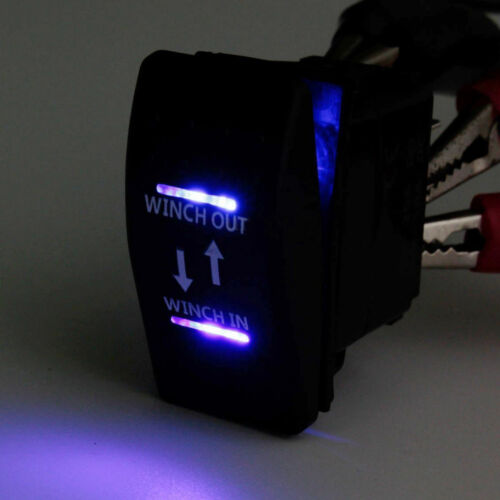 12V Rocker Toggle Switch Blue LED Winch 7P In Out Light Car Momentary AT Sales