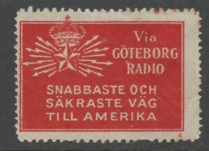 Sweden-America-Telegraph-Label-seal-Cinderella-stamp-7-9-scarce-item-no-gum