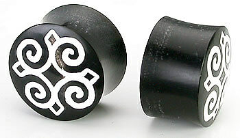 Price Per 1 Horn Plug with Abalone Inlay and Small Star Organic Plug 8mm-24mm