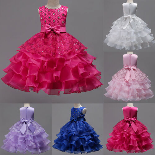 Beaded Layers Tutu Dress Ball Gown For Kid Flower Girls Dresses Birthday Party