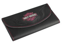 Harley-davidson Women's Pink Bar & Shield Embroidered Tri-fold Wallet, Black