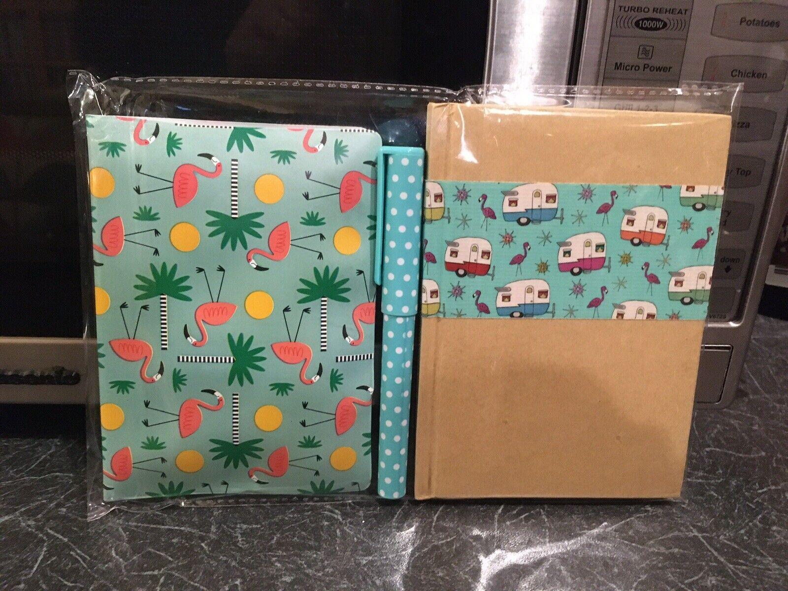 Retro Blue Flamingo Passport Cover +a6 Hardback Notebook +pen 3 Piece Gift Set