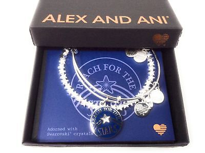 Alex and Ani Shooting Star Set of 2 Bangle Bracelet Midnight Silver NWTBC