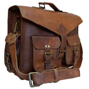 """Men/'s Goat Leather 15"""" Messenger Bag Two Front Pockets Office College Laptop-bag"""