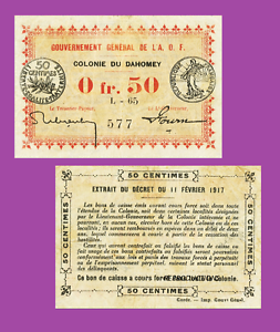 UNC Reproduction DAHOMEY 0,5 francs 1917 French colonei