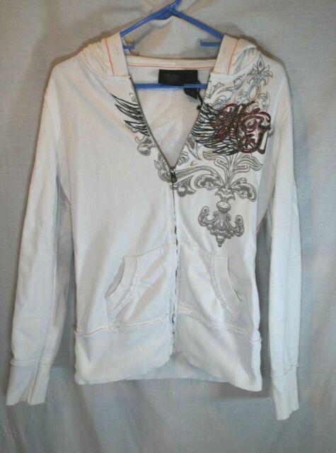 HARLEY DAVIDSON Full Zip White & Red Hoodie Sweatshirt Women's Size Medium Skull